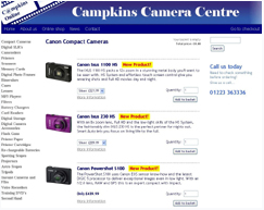 Screenshot of Campkins Cameras product page